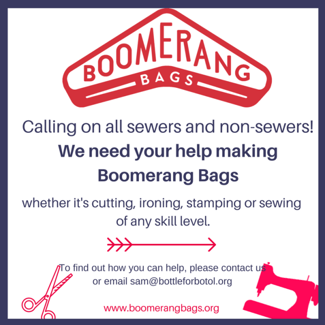 Calling on all sewers and non-sewers! We need your help with making Boomerang Bags, whether it's cutting, ironing, sewing or stamping.